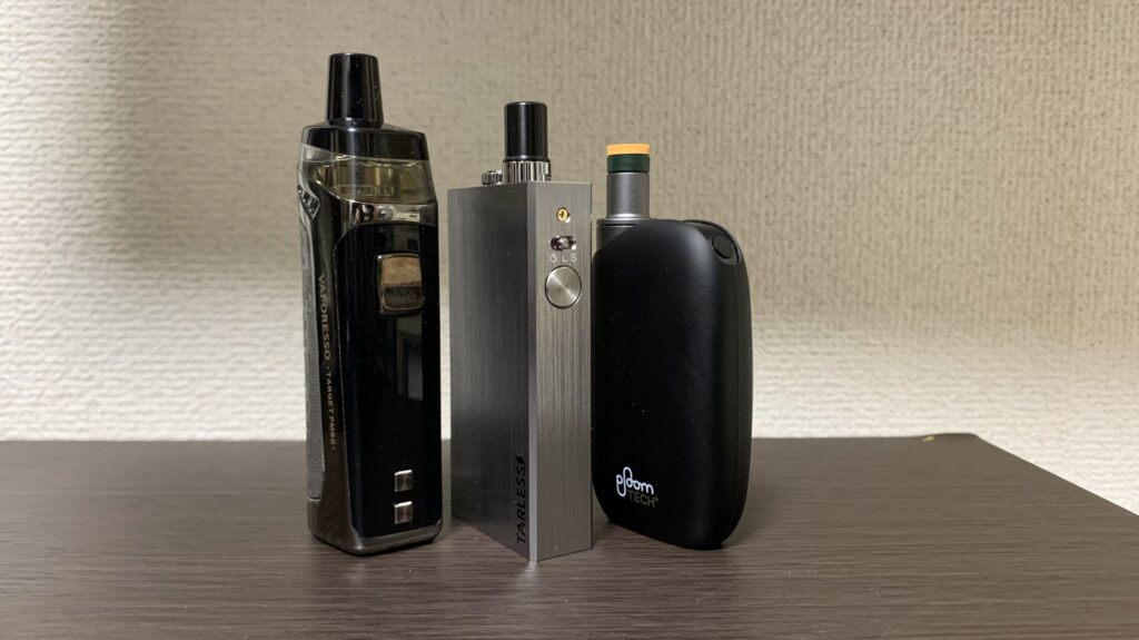 TARLESS and vape and PloomTECH+with comparison